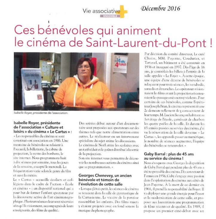 ces benevoles qui aiment le cinema de saint laurent du pont