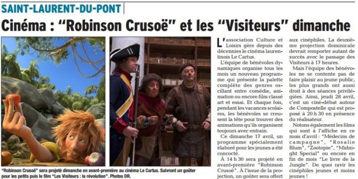 Cinema robinson crusoe et les visiteurs dimanche