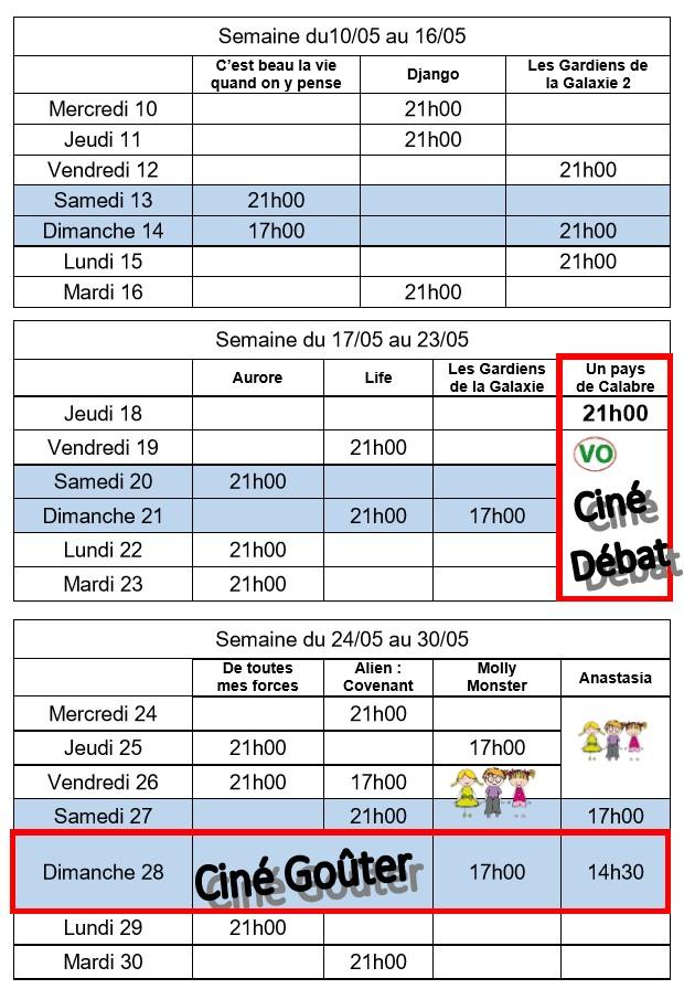 Programme du 10.05.2017 au 30.05.2017