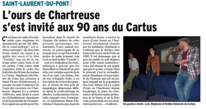 Dauphine Libéré. 15 septembre 2017