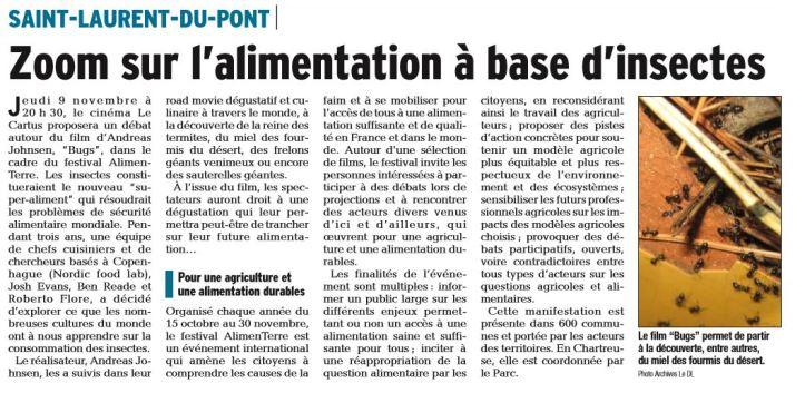 Dauphine Libéré. 7 novembre 2017