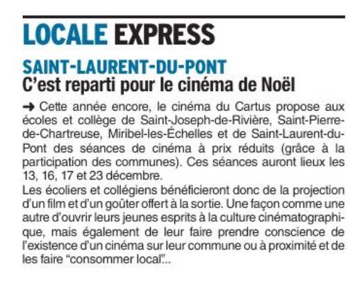 Dauphine Libéré. 12 décembre 2017